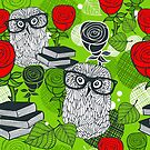 Red roses and clever owls. by Ekaterina Panova