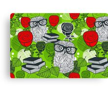 Red roses and clever owls. Canvas Print