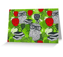 Red roses and clever owls Greeting Card