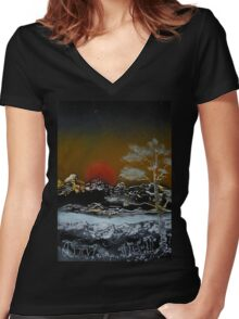Japanese Sunset Women's Fitted V-Neck T-Shirt
