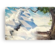 Landscape with dove, bench and lake Canvas Print