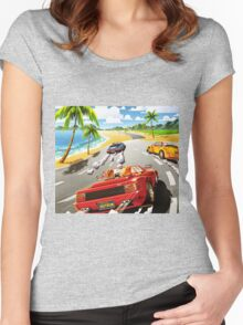 California OutRun SEGA utopian heaven arcade racer Women's Fitted Scoop T-Shirt