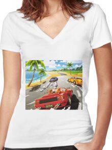 California OutRun SEGA utopian heaven arcade racer Women's Fitted V-Neck T-Shirt
