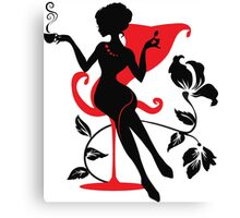 Silhouette of woman with a cup of coffee Canvas Print