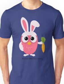 Cute pink little owl with bunny ears. Unisex T-Shirt