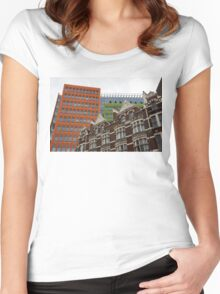 The Old and the New - Victorian Houses in Front of the Apple Green and Orange Facades of Central Saint Giles Women's Fitted Scoop T-Shirt