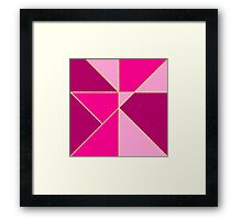 Stylish neon pink pastel color block gold stripes  Framed Print
