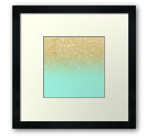 Stylish faux gold ombre mint green block Framed Print
