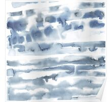 Watercolor blue line stains  Poster