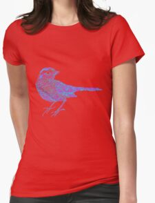 Pink and blue sparrow Womens Fitted T-Shirt