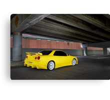 Yellow Nissan Skyline R34 Canvas Print