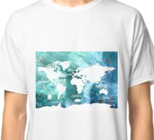 World map water grunge Classic T-Shirt