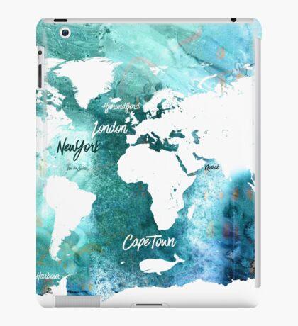 World map water grunge iPad Case/Skin