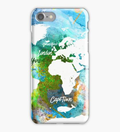 World map Adventure colors  iPhone Case/Skin