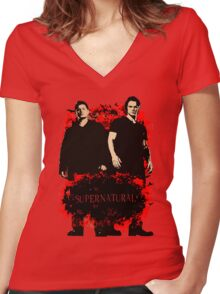 Explosive Dean & Sam Women's Fitted V-Neck T-Shirt