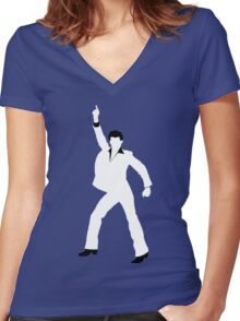 Saturday Night Fever Women's Fitted V-Neck T-Shirt