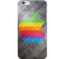 Colored Apple logo on gray steel background iPhone Case/Skin