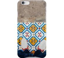 Man Standing on Colorful Tiles iPhone Case/Skin