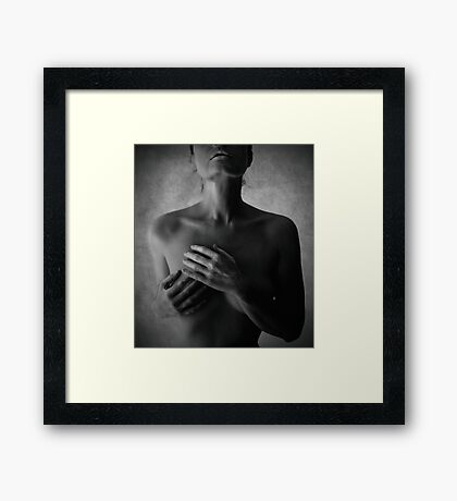 nude lady touching heart  Framed Print