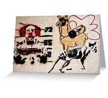 crazy lama and a sad clown... street art in Hong Kong Greeting Card