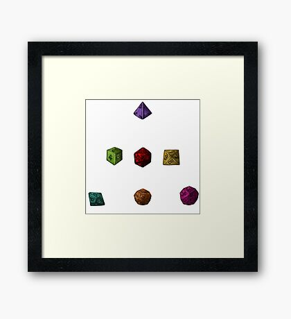 Colourful Polyhedron Dice Framed Print