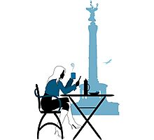 Woman silhouette in Berlin cafe Photographic Print