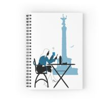 Woman silhouette in Berlin cafe Spiral Notebook