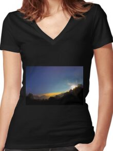 Sunrise On The Cajas Range Of The Andes Women's Fitted V-Neck T-Shirt