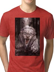 Fierce Albino Ice Age Smilodon (Sabre Tooth Tiger) Tri-blend T-Shirt