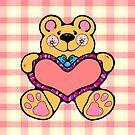 Country Style Valentine Teddy Bear Graphic Holding Heart Plaid Background by doonidesigns