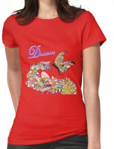 Dream Abstract Flowers And Butterfly Artsy Design Womens Fitted T-Shirt