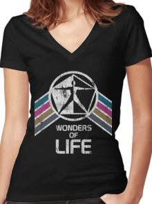 Wonders of Life Logo in Vintage Distressed Style Women's Fitted V-Neck T-Shirt