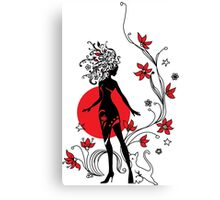 Graphic silhouette of a woman Canvas Print