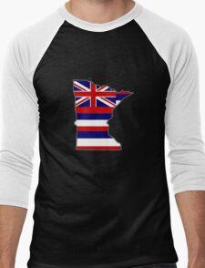 Hawaii flag Minnesota outline Men's Baseball ¾ T-Shirt