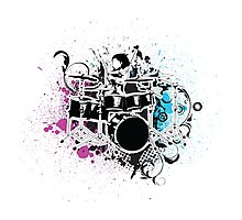 Funky Drummer Vector Illustration Photographic Print
