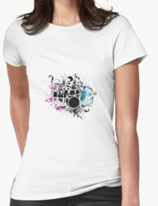 Funky Drummer Vector Illustration Womens Fitted T-Shirt