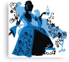 Graphic silhouette of a rococo woman Canvas Print