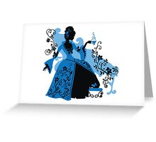 Graphic silhouette of a rococo woman Greeting Card