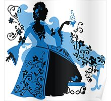 Graphic silhouette of a rococo woman Poster