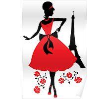 Retro woman silhouette Poster