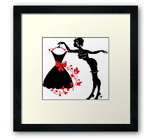 Pin up woman silhouette Framed Print