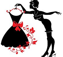 Pin up woman silhouette Photographic Print