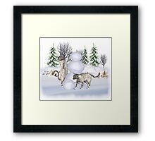 Fun in The Snow .. January cats Framed Print