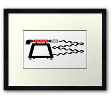 Old telephone, whisk, and oven combined Framed Print
