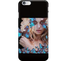 MYSTERIOUS BEAUTY WITH BLUE BUTTERFLY iPhone Case/Skin