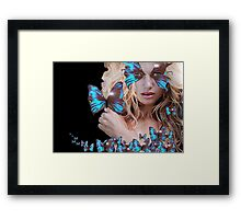 MYSTERIOUS BEAUTY WITH BLUE BUTTERFLY Framed Print
