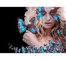 MYSTERIOUS BEAUTY WITH BLUE BUTTERFLY Photographic Print