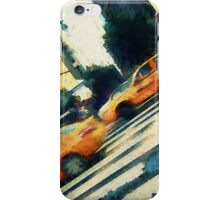 Iconic yellow taxi cabs on a busy NYC street iPhone Case/Skin