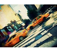 Iconic yellow taxi cabs on a busy NYC street Photographic Print