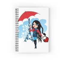 Nice french girl with umbrella Spiral Notebook